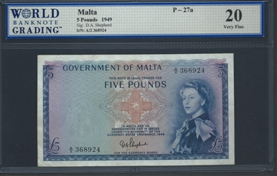 Malta, P-27a, 5 Pounds, 1949 Signatures: D.A. Shepherd 20 Very Fine