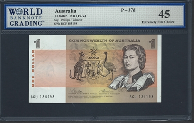 Australia, P-37d, 1 Dollar, ND (1972), 45 Extremely Fine Choice