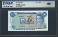 Bermuda, P-28b, 1 Dollar, 2.1.1982, 66 TOP UNC Gem