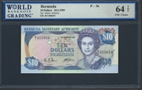 Bermuda, P-36, 10 Dollars, 20.2.1989, 64 TOP UNC Choice