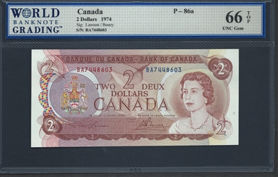 Canada, P-086a, 2 Dollars, 1974, 66 TOP UNC Gem