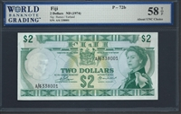 Fiji, P-072b, 2 Dollars, ND (1974), 58 TOP About UNC Choice
