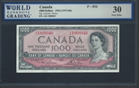 Canada, P-083d, 1000 Dollars, 1954 (1973-84) Signatures: Lawson/Bouey 30 Very Fine