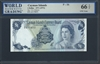 Cayman Islands, P-01b, 1 Dollar, 1971 (1972) Signatures: V.G. Johnson 66 TOP UNC Gem