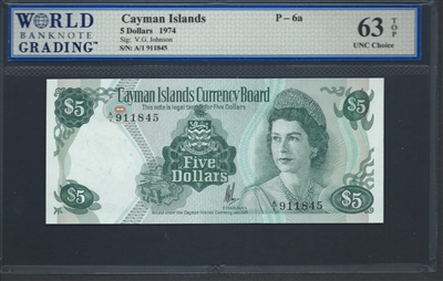 Cayman Islands, P-06a, 5 Dollars, 1974 Signatures: V.G. Johnson 63 TOP UNC Choice