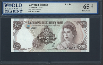 Cayman Islands, P-08a, 25 Dollars, 1974 Signatures: V.G. Johnson 65 TOP UNC Gem