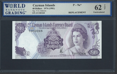 Cayman Islands, P-09a*, Replacement Note, 40 Dollars, 1974 (1981) Signatures: V.G. Johnson 62 TOP Uncirculated