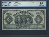 Canada, P-027b, 1 Dollar, 3.1.1911, Signatures: unidentified/Boville, 15 Fine Choice
