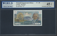 French Equatorial Africa, P-28, 5 Francs, ND (1957), Signatures: Gautier/Panouillot, 45 TOP Extremely Fine Choice
