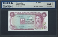 Bermuda, P-29b*, Replacement note, 5 Dollars, 2.1.1981, Signatures: Yearwood/Trued, 64 TOP UNC Choice