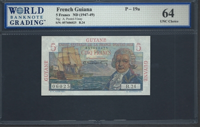 French Guiana, P-19a, 5 Francs, ND (1947-49), Signatures: A. Postel-Vinay, 64 UNC Choice