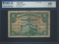 Gibraltar, P-12, 1 Pound, 1.10.1927 Signatures: W.A. Bowring 10 Very Good