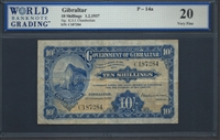 Gibraltar, P-14a, 10 Shillings, 1.2.1937 Signatures: K.S.J. Chamberlain 20 Very Fine