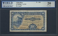 Gibraltar, P-14b, 10 Shillings, 1.6.1942 Signatures: C.D. Todd 20 Very Fine