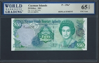 Cayman Islands, P-29a*, Replacement Note, 50 Dollars, 2001 Signatures: G.A. McCarthy 65 TOP UNC Gem