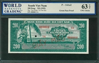 South Viet Nam, P-14As2, 200 Dong, ND (1955), Signatures: Van Dong/Tu Van Quy, 63 TOP UNC Choice (face and back pair)