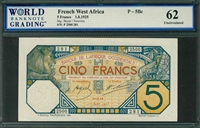 French West Africa, P-05Bc, 5 Francs, 1.8.1925, Signatures: Boyer/Nouvion, 62 Uncirculated