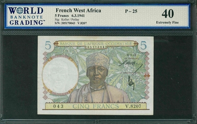 French West Africa, P-25, 5 Francs, 6.3.1941, Signatures: Keller/Poilay, 40 Extremely Fine
