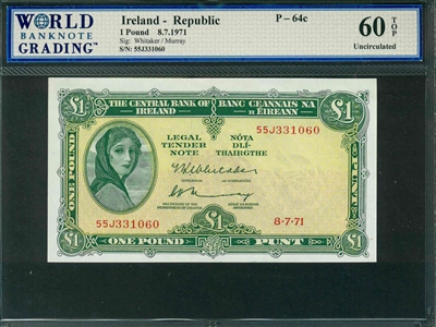 Ireland - Republic, P-64c, 1 Pound, 8.7.1971, Signatures: Whitaker/Murray, 60 TOP Uncirculated