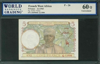 French West Africa, P-26, 5 Francs, 2.3.1943, Signatures: Keller/Poilay,  60Q Uncirculated, COMMENT:  staining