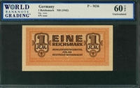 Germany, P-M36, 1 Reichsmark, ND (1942), Signatures: none,  60 TOP Uncirculated