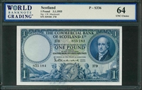 Scotland, P-S336, 1 Pound, 3.1.1955, Signatures: I.W. Macdonald,  64 UNC Choice