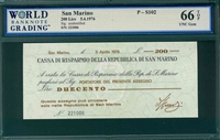 San Marino, P-S102, 200 Lire, 5.4.1976, Signatures: unidentified,  66 TOP UNC Gem