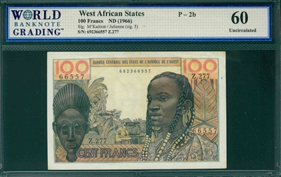 West African States, P-002b, 100 Francs, ND (1966), Signatures: M'Kaitirat/Julienne (sig. 5),  60 Uncirculated