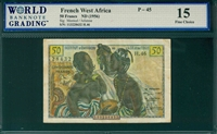 French West Africa, P-45, 50 Francs, ND (1956), Signatures: Montcel/Julienne,  15 Fine Choice