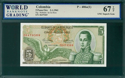 Colombia, P-406a(1), 5 Pesos Oro, 2.1.1961, Signatures: Robledo/de los Rios,  67 TOP UNC Superb Gem