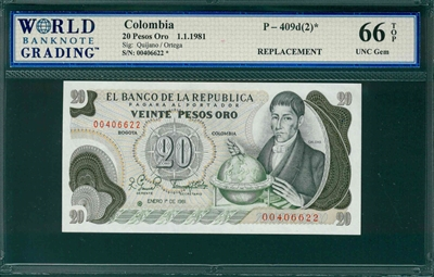 Colombia, P-409d(2)*, 20 Pesos Oro, 1.1.1981, Signatures: Quijno/Ortega,  66 TOP UNC Gem,  REPLACEMENT