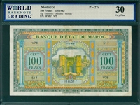 Morocco, P-27a, 100 Francs, 1.5.1943, Signatures: Guessous/Desoubry/Moreau,  30 Very Fine, COMMENT:  margin tear