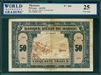 Morocco, P-26a, 50 Francs, 1.8.1943, Signatures: Guessous/Bapst/de Castelbajac,  25 Very Fine, COMMENT:  staple holes