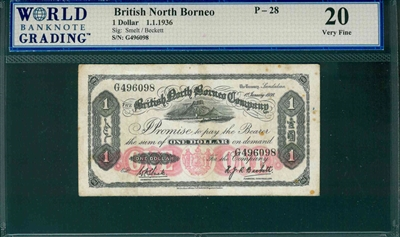 British North Borneo, P-28, 1 Dollar, 1.1.1936, Signatures: Smelt/Beckett,  20 Very Fine, COMMENT:  pinhole