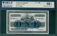 Northern Ireland, P-178b, 1 Pound, 1.1.1940, Signatures: F.W. White,  58 TOP About UNC Choice