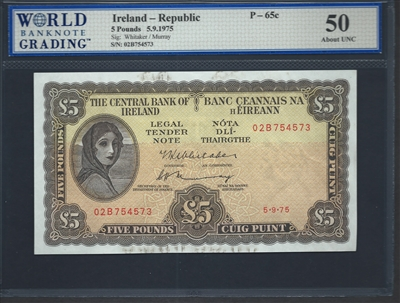 Ireland - Republic, P-65c, 5 Pounds, 5.9.1975, Signatures: Whitaker/Murray, 50 About UNC