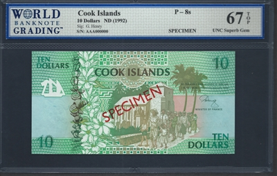 Cook Islands Specimen Set of 4 notes, P-7s, P-8s, P-9s, P-10s, ND (1992), Signatures: G. Henry