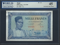 Mali, P-04, 1000 Francs, 22.9.1960, Signatures: Maiga/Sow, 45 Extremely Fine Choice