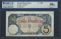 French West Africa, P-05Bb, 5 Francs, 14.12.1922, Signatures: Boyer/Nouvion, 30Q Very Fine