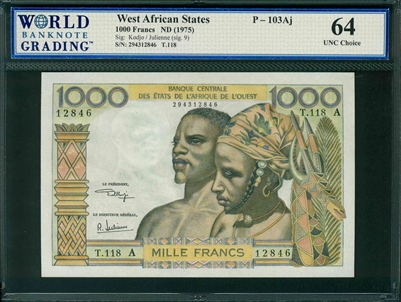 West African States, P-103Aj, 1000 Francs, ND (1975), Signatures: Kodjo/Julienne (sig. 9), 64 UNC Choice