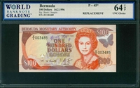 Bermuda, P-45*, REPLACEMENT, 100 Dollars, 14.2.1996, Signatures: Brock/Joaquin, 64 TOP UNC Choice