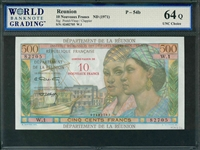 Reunion, P-54b, 10 Nouveaux Francs, ND (1971), Signatures: Postel-Vinay/Clappier, 64Q UNC Choice