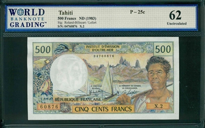 Tahiti, P-25c, 500 Francs, ND (1983), Signatures: Roland-Billecart/Lefort, 62 Uncirculated