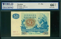 Sweden, P-53a, 50 Kronor, 1967, Signatures: Asbrink/unidentified, 66 TOP UNC Gem