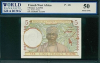 French West Africa, P-26, 5 Francs, 2.3.1943, Signatures: Keller/Poilay, 50 About UNC