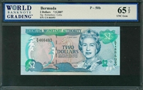 Bermuda, P-50b, 2 Dollars, 7.5.2007, Signatures: Richardson / Collis, 65 TOP UNC Gem