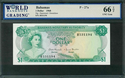 Bahamas, P-27a, 1 Dollar, 1968, Signatures: Hammond/Donaldson, 66 TOP UNC Gem