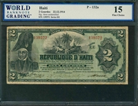 Haiti, P-132a, 2 Gourdes, 22.12.1914, Signatures: three unidentified, 15 Fine Choice, COMMENT: staining
