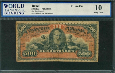 Brazil, P-A243a, 500 Reis, ND (1880), Signatures: handsigned, 10 Very Good, COMMENT: tape