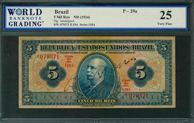 Brazil, P-029a, 5 Mil Reis, ND (1924), Signatures: handsigned, 25 Very Fine